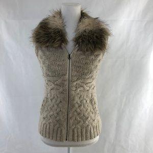 LOFT Tan Cable Knit Vest with Faux Fur Collar SIZE